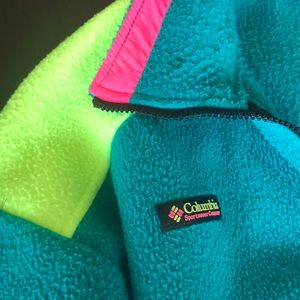 Columbia Jackets & Coats - Vintage Columbia Jacket teal w/ neon yellow & pink